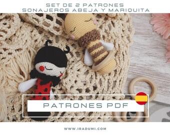 SET 2 PATRONES español, Sonajero abeja, sonajero mariquita, PDF Patrón Crochet, Amigurumi crochet, Crochet pattern rattle, juguete amigurumi