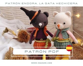 Patrón crochet gato, PDF TUTORIAL ESPAÑOL, patrón gato halloween amigurumi, halloween crochet, juguete crochet gato, muñeco crochet tutorial