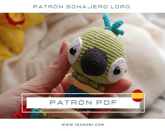 SONAJERO loro, mordedor, PDF tutorial ESPAÑOL, Patrón de crochet sonajero,  juguete loro patrón, patrón amigurumi sonajero
