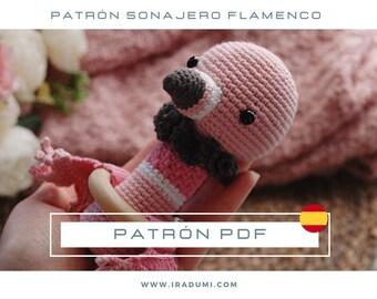 SONAJERO Flamenco, mordedor, PDF tutorial ESPAÑOL, Patrón de crochet sonajero,  juguete Flamenco patrón, patrón amigurumi sonajero