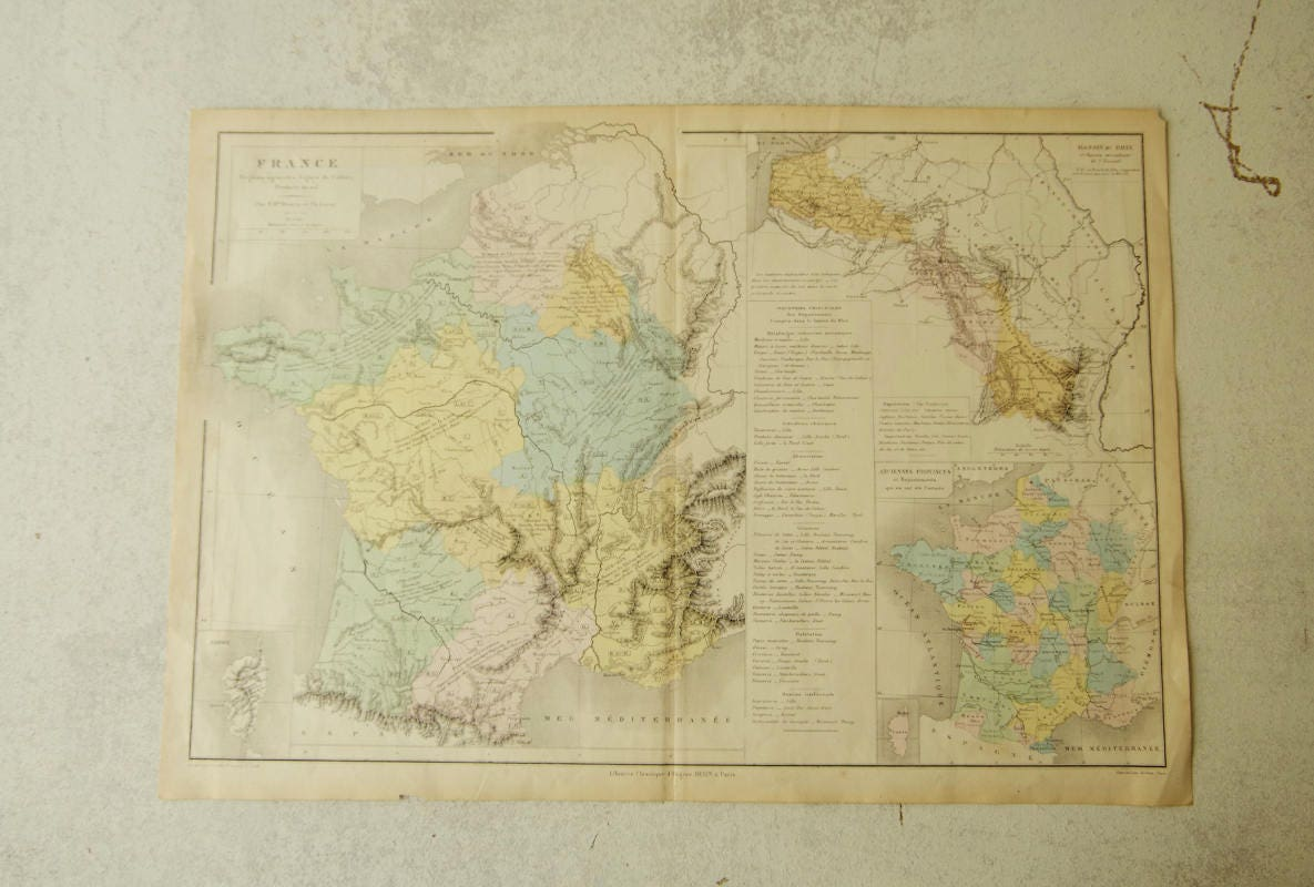Map Of France Over Time.Antique Atlas Map France End Of 19 Century In French