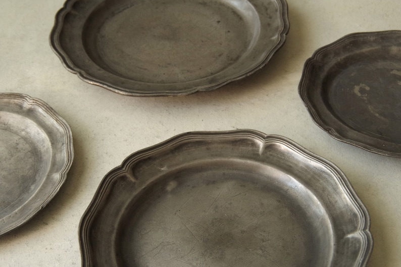 French Antique Weathered Patina Fluted Pewter Plate
