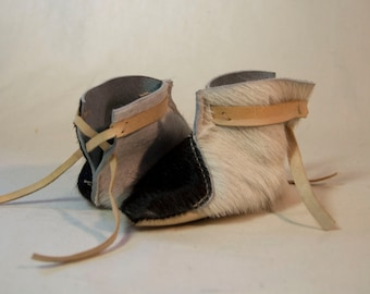 Cowhide elf booties (for babies!)