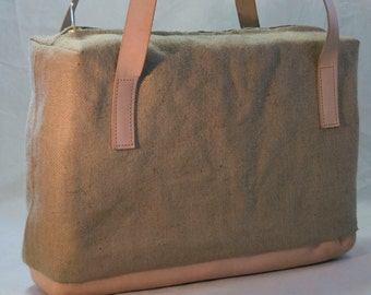 Handmade leather and burlap zipper tote