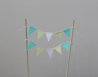 Pastel yellow, mint and white cake topper bunting, birthday cake topper, cake bunting, Birthday, Smash cake, baby shower