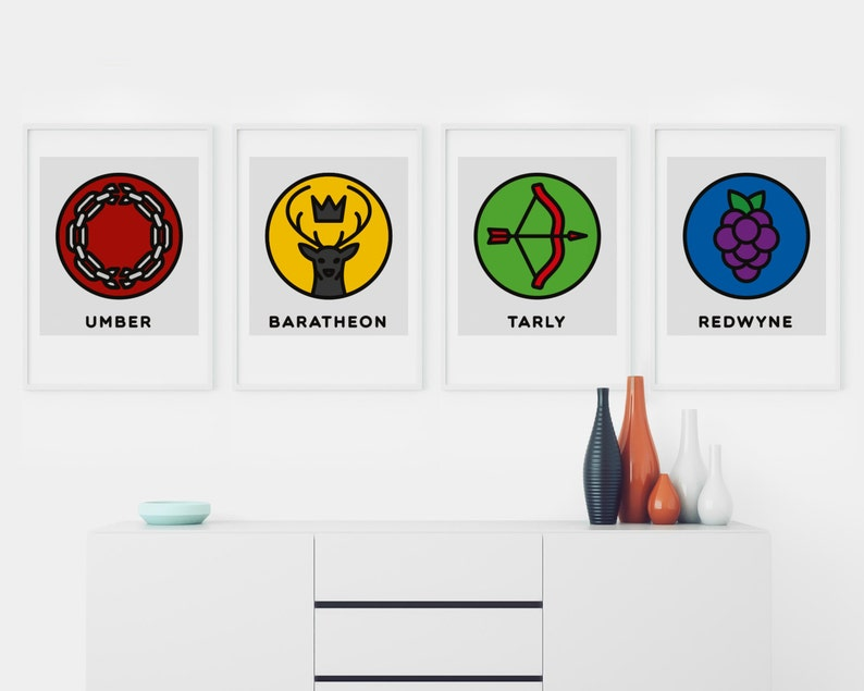 Game Of Thrones Houses Posters Set Of 4 House Umber Etsy