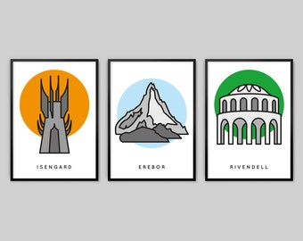 3 Lord of the Rings Posters - Set 1 - Isengard, Erebor, Rivendell