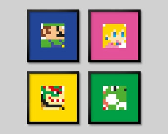 4 Super Mario Nintendo Pixel 8bit Posters - Set 3