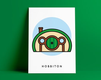 Hobbiton Poster, Lord of the Rings Print A4, LOTR