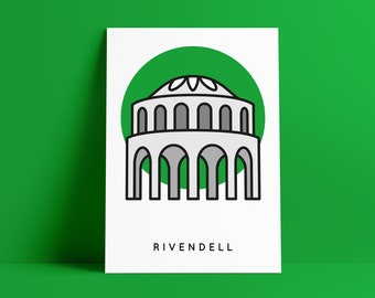 Rivendell Poster, Lord of the Rings Print A4, LOTR