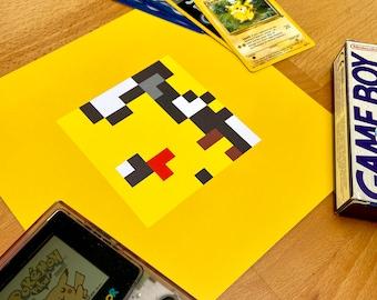 Pikachu Pokemon Pixel Art Poster
