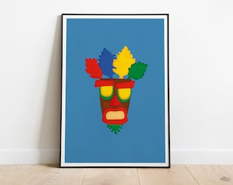 Aku Aku Poster, Crash Bandicoot Mask Print, Playstation