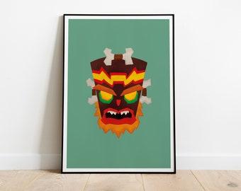 Uka Uka Poster, Crash Bandicoot Mask Print, Playstation