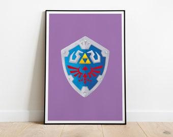 Hylian Shield Poster, Legend of Zelda Print, Nintendo