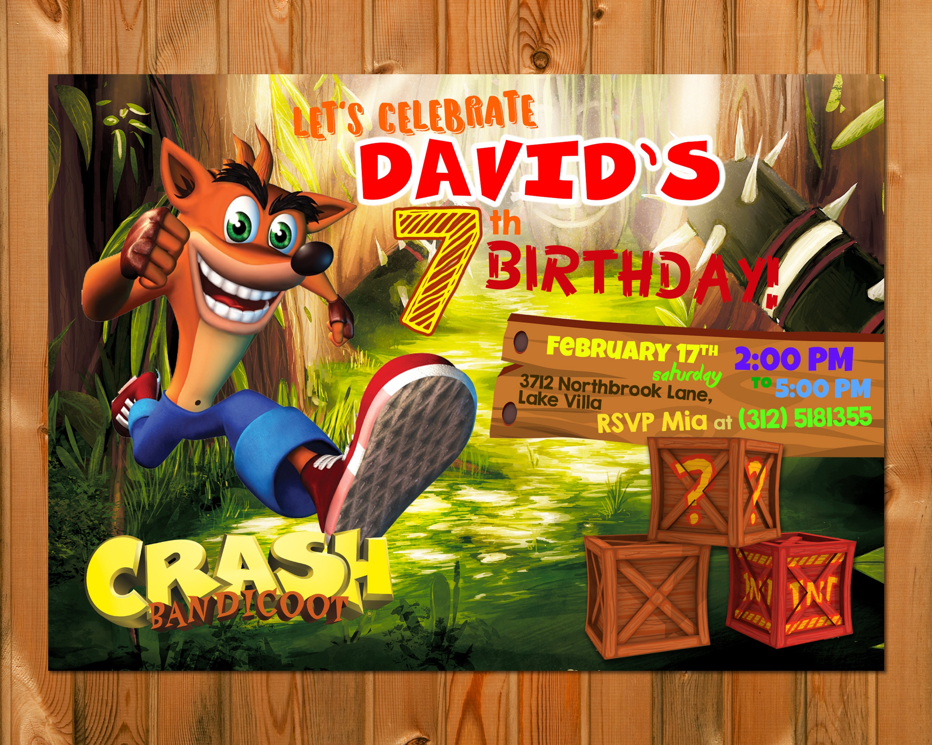 Crash Bandicoot Birthday Invitation Crash Bandicoot Party Etsy