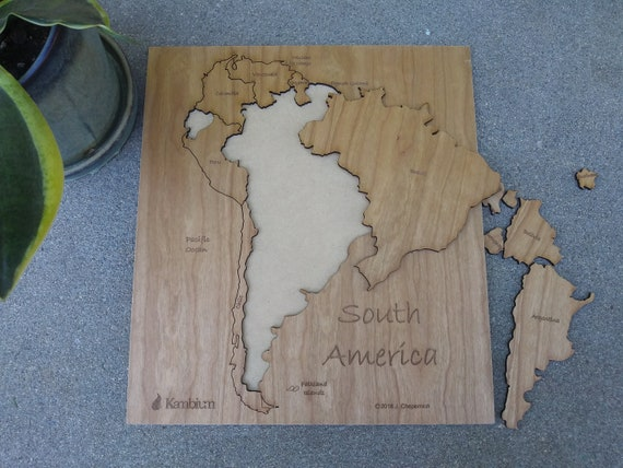 Wooden South America map puzzle wood puzzle wall art | Etsy