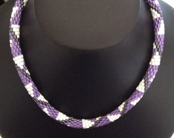 Purple white and black sawtooth pattern bead crochet rope necklace