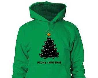 more colors meowy christmas hoodie - Christmas Hoodie