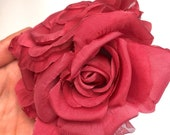 Millinery Red SILK Flower Brooch Wedding Dress Accessory Bridal Hair Pins