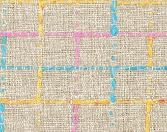 2288f3fccc6eb7 Beige Boucle Stoff, strukturierter Baumwolle Viskose Tweed mit blau, rosa,  gelb Multicolor Check Muster, 1 1/2 Yard für Mantel, Anzug, Kleid