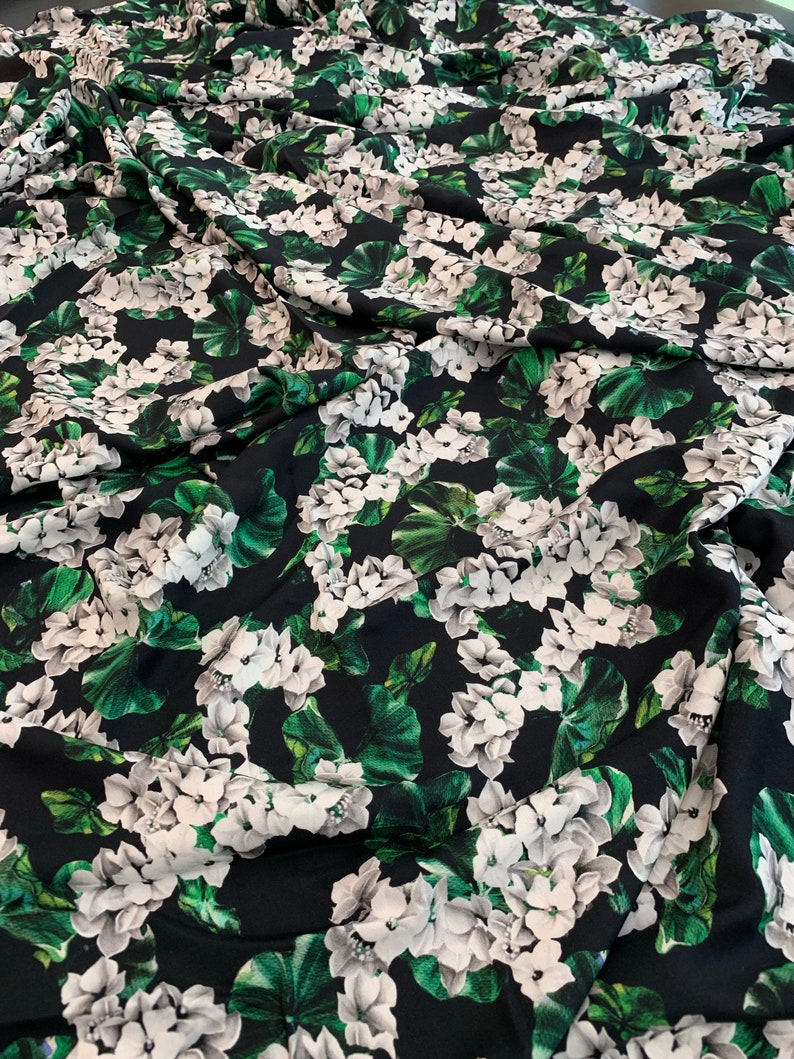 by 1 yard made in Italy Green Beige Blue Flower Print on Black cloth Soft Material for Summer Dress Floral Viscose Fabric