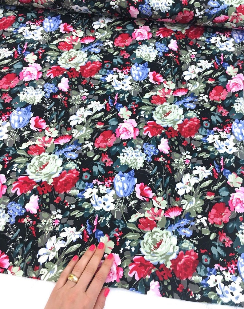 12958f438c0 Black Cotton Spandex Fabric Stretch Floral Red Blue White | Etsy