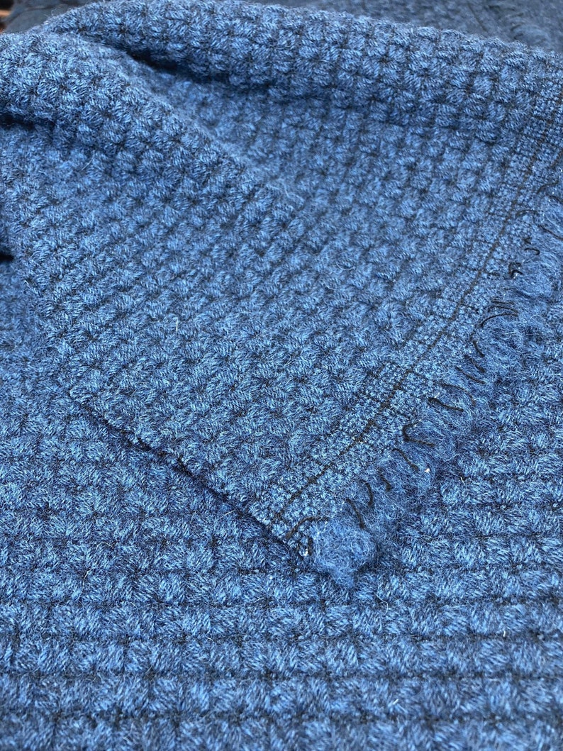 eda89d330b6a33 Blue Boucle Fabric Textured Wool Cotton Blend Tweed by 1 2