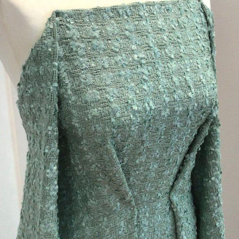 6492b1ac5d8d97 Boucle tweed fabric mint green jacket dressmaking material