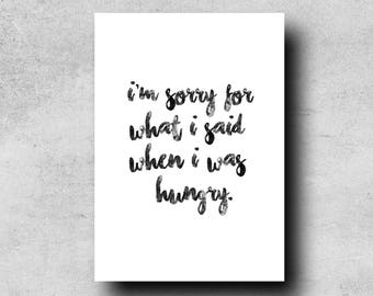 Funny hungry quote | Etsy