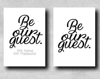 Be Our Guest - Beauty and the Beast - Guest Room Typographical Print - Wifi Details Optional