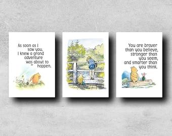 Set Of Three Winnie the Pooh - Typographical Prints