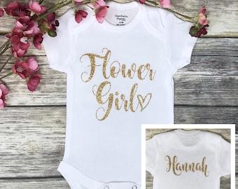 Flower Custom Name Babygrow Personalised Baby Grow Floral Flowery Romper Gift