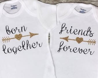 f52f50cd675c4 Born Together Friends Forever Twin Onesies, Baby Boy and Girl Twin Onesie  Set