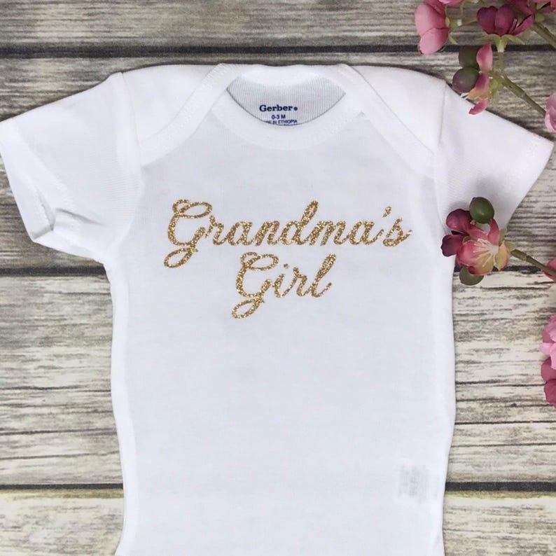 64bc2a5439c39 Grandma's Girl Onesie, Baby Shower Gift from Grandma, New Baby Girl Outfit,  Baby Girl Clothes from Grandmother, Grandma Onesie