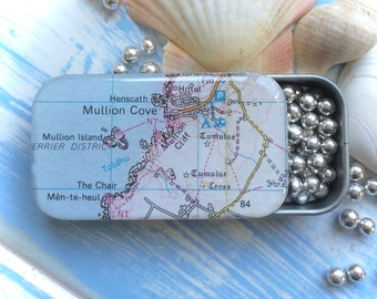 MULLION COVE Cornwall Porth Mellin tin Cornish map Gift for men Gift for women Tin anniversary Father's Day Mints Pills Low cost under 10