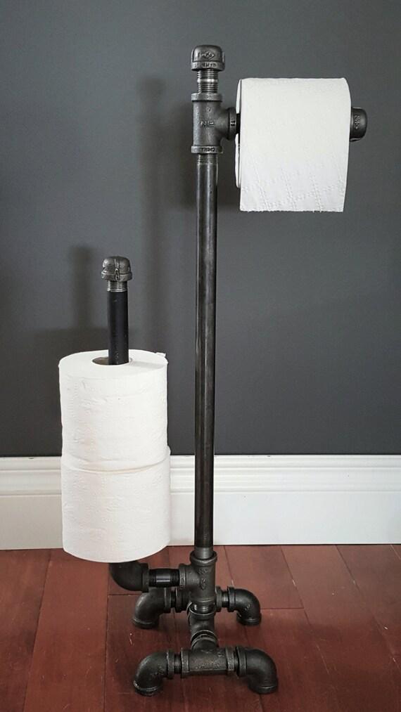 Industrial Steampunk Black Steel Plumbing Pipe Wall Mounted Paper Towel Holder
