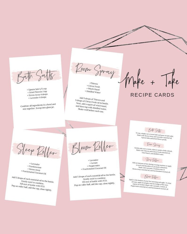 Printable Make + Take Recipe Cards, Essential Oil Recipes Cards, Essential  Oil 101 Supplies, Starter Kit Make \u0026 Take, Young Living, Oil Biz
