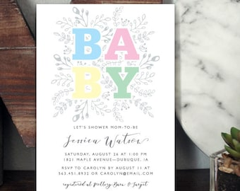 Printable Baby Shower Invitation, Boho Baby Shower, Baby Shower Invitations, Custom Digital Invitation, Floral Printable Baby Shower Invite