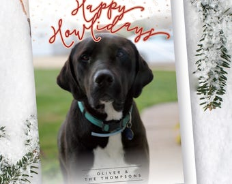 Items similar to dog holiday photo card pet christmas cards happy happy howlidays printable pet christmas card funny dog christmas card happy holidays greeting card m4hsunfo