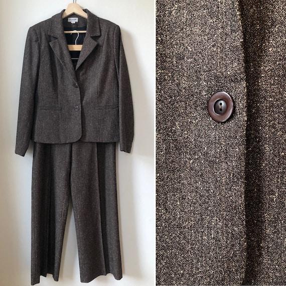 Vintage Two Piece Suit, Two Piece Set, Brown Bouc… - image 1