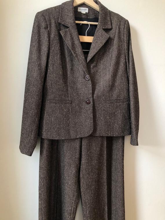 Vintage Two Piece Suit, Two Piece Set, Brown Bouc… - image 3