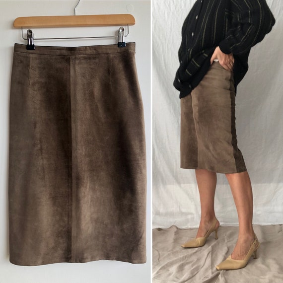 Brown Suede Pencil Midi Skirt