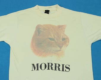 80s Morris the Cat T-Shirt ~ XS-S // Vintage, 9 Lives, Advertising, Cat Food, Graphic, Retro, 1980s, Kitty, Kitten, Tee, Extra Small, Small