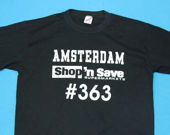 1716661c 90s SHOP N SAVE T-Shirt ~ XL // Vintage, Amsterdam, Supermarket, Grocery,  Store, Vtg, 1990s, Black, Jerzees, Graphic, Tee, Extra Large