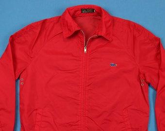 80s Red Alligator Jacket ~ M-L // Vintage, Full Zip, Izod, Lacoste, Gator, 1980s, Track, Windbreaker, Wind Runner, Medium, Large