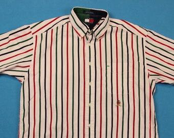 90s Tommy HIlfiger Shirt ~ L // Vintage, Vertical, Striped, Short Sleeve, Multi-Color, 1990s, Button, Men, Large