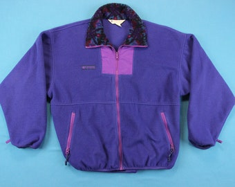54e507fe46e 90s COLUMBIA FLEECE Vintage Jacket ~ Women L // Purple, Colorful, Retro,  Ski, Soft, Warm, Vtg, 1990s, Outdoor, Coat, Large