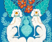 ART PRINT White Staffordshire dogs on blue and aqua