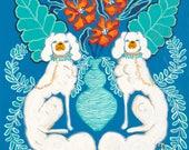 ART PRINT White Staffordshire dogs on blue and aqua