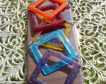 fused glass diamond mobile in orange, red, yellow, blue green. Lovely gift use outside, Nursery, conservatory etc MADE TO ORDER